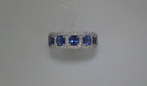 Ladies sapphire ring in 18kt white gold, with 5 sapphires =2.13ct, and 58 diamonds =.50ct.  Style 135-0211 $3900.00