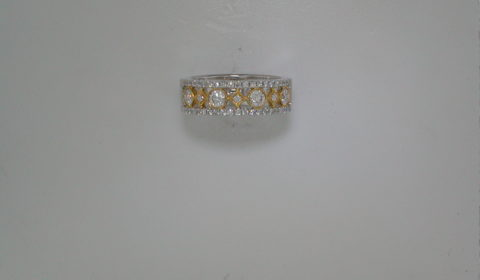 Two tone 18kt diamond ring with 45 diamonds =.82ct.  Style 135-0215 $3500.00