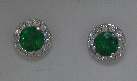 Emerald earrings in 14kt white gold =.91ct with 26 diamonds =.28ct.  Style E2136WE1901 $2900.00