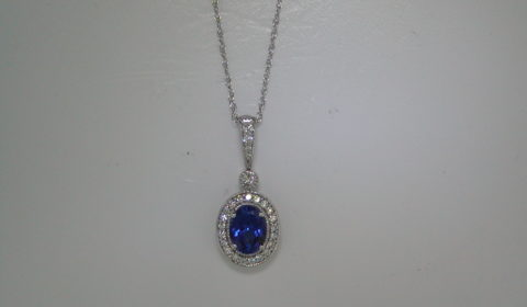 Tanzanite pendant in 14kt white gold =1.40ct with 26 diamonds .30ct on an 18in chain.  Style 135-0226 $2250.00