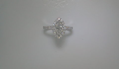 Marquise engagement ring in 14kt white gold =1.11ct with 32 round diamonds =.48ct.  Style 700-0386 $6450.00