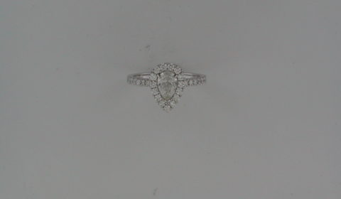 Pear shape halo engagement ring in 14kt white gold =1.01ct with 33 round diamonds =.50ct.  Style 700-0389 $6450.00