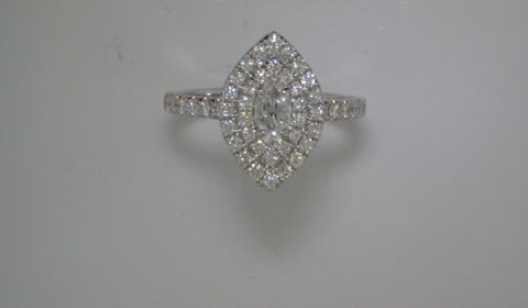 Marquise double halo engagement ring =.30ct with 48 diamonds =.70ct.  Style 700-0390 $2995.00