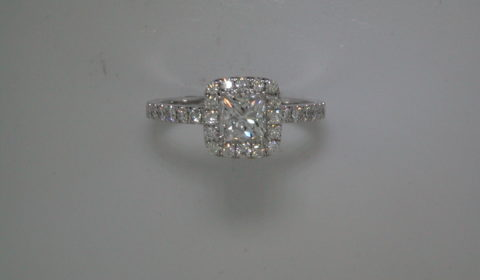 Princess halo engagement ring in 14kt white gold =.96ct with 32 round diamonds =.45ct.  Style 700-0391 $5995.00