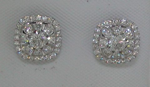 Cushion cut cluster earrings in 14kt white gold =.35ct with 64 round diamonds =.65ct.  Style 33312-W $2950.00