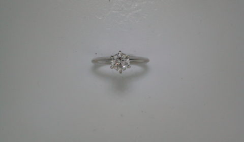 Diamond engagement ring in 14kt white gold with a G-I1 round brillant cut diamond =.96ct.  Style 900-0639 $6000.00