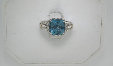 London blue topaz ring in sterling silver and 14kt yellow gold =4.20ct.  Style 800-2143 $235.00