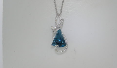 8.50ct London Blue topaz pendant in 14kt white gold with 64 diamonds =.42ct on a 1.7mm, 18in ropa chain   Style 127-0010  $2075.00