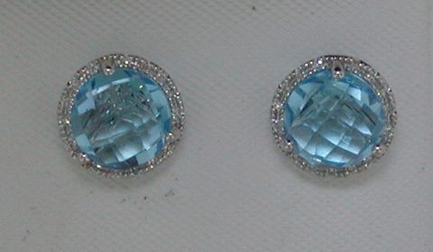 3.96ct blue topaz earrings in 14kt white gold with 30 diamonds =.08ct.  Style DC-E10436-78 $425.00