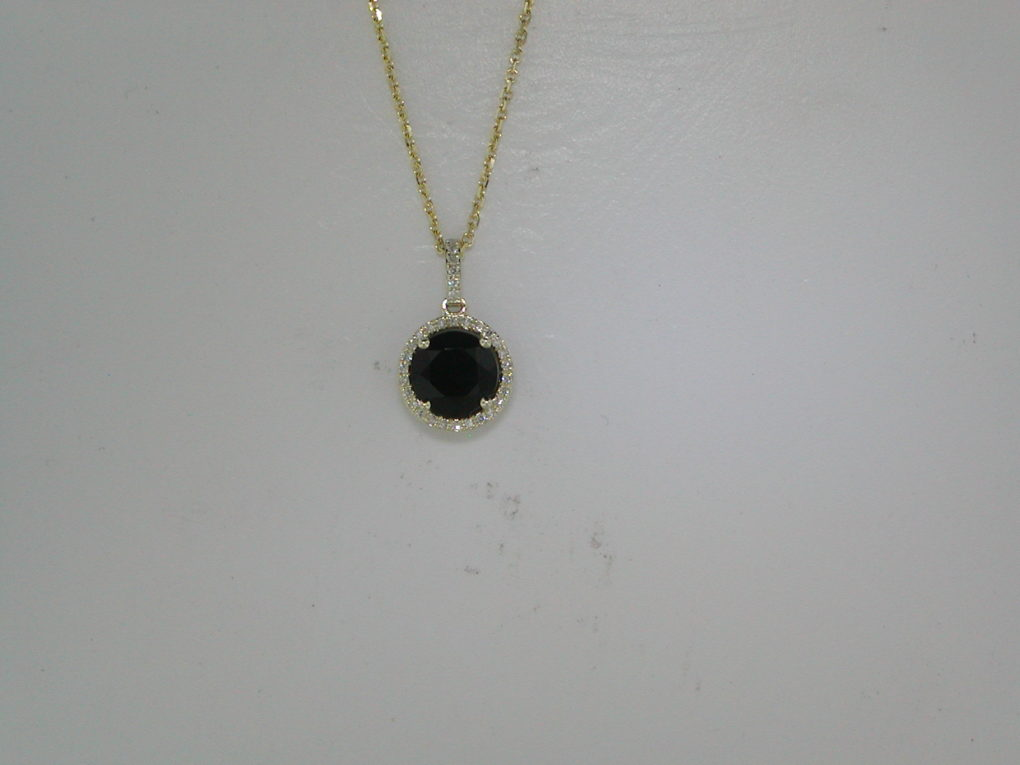 1.22ct black onyx pendant in 14kt yellow gold with 32 diamonds =.08ct on a 16in chain.  Style 270-0083  $575.00
