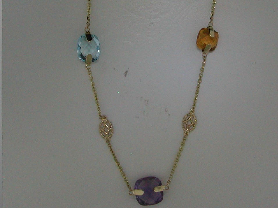 Multi color necklace in 14kt yellow gold with 5 colored stones =15.58ct on an 18in chain.  Style 270-0088.  $1050.00