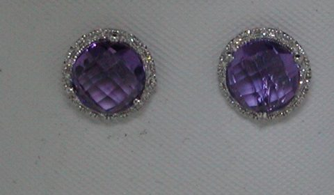 2.91ct amethyst earrings in 14kt white gold with 30 diamonds =.08ct.  Style DC-E10436-103.  $425.00