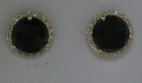 2.93ct black onyx earrings in 14kt yellow gold with 30 diamonds =.08ct.  Style DC-E10436-105 $425.00