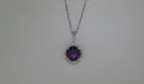 1.48ct amethyst pendant in 14kt white gold with 32 diamonds =.08ct on a 16in chain.  Style 270-0096 $575.00