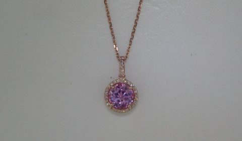 1.90ct pink quartz pendant in 14kt rose gold with 32 diamonds =.08ct on a 16in chain.  Style 270-0097 $575.00