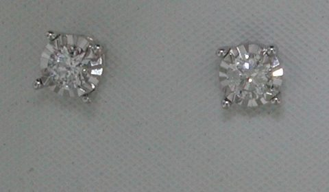 Illusion set round brilliant cut diamond earrings =.33ct  set in 14kt white gold.  Style 412-0102.  $1000.00