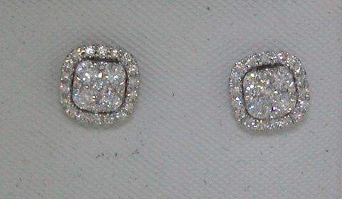 Halo style cluster earrings set in 14kt white gold 54 diamonds =.50ct. Style ER10255.  $1450.00