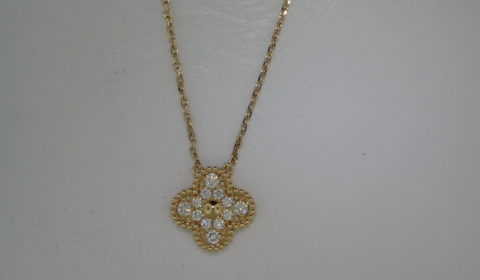 Diamond pendant in 18kt yellow gold with 12 diamonds =.30ct on an 18in chain  Style 135-0237 $2400.00