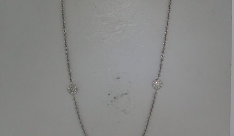 Station necklace in 18kt white gold with 85 diamonds =.62ct on an 18in chain.  Style 4444OCWN921 $2500.00