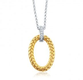 Oval woven pendant in sterling silver and 18kt yellow gold with an 18in chain.  Style 224-0253 $165.00