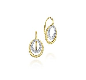 Twisted oval earrings in 14kt yellow and white gold with diamonds =.40ct.  Style EG13432M45JJ.  $1325.00