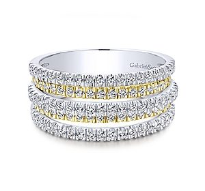Layered 5 row diamond band in 14kt yellow and white gold =.91ct.  Style LR50892M45JJ.  $2600.00