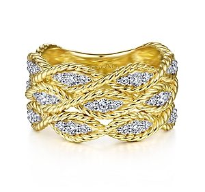 Twisted 3 row diamond band in 14kt yellow gold =.53ct.  Style LR51558Y45JJ.  $2150.00