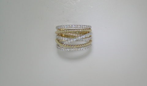 Multi-band fashion ring in 14kt yellow and white gold with diamonds =.85ct.  Style LR51623M45JJ.  $2950.00