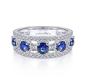 1.09ct sapphire ring in 14kt white gold with 5 sapphires and diamonds =.65ct.  Style LR51738W45SA $2500.00