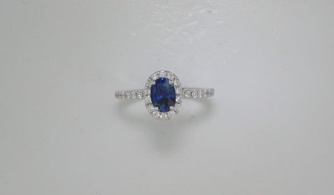 1.04ct sapphire oval ladies ring in 14kt white gold with 34 diamonds =.50ct.  Style 700-0400.  $2850.00