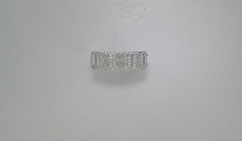 .73ct emerald cut diamond ring in 14kt white gold with 70 round diamonds =.33ct.  Style 36539-W.  $4175.00