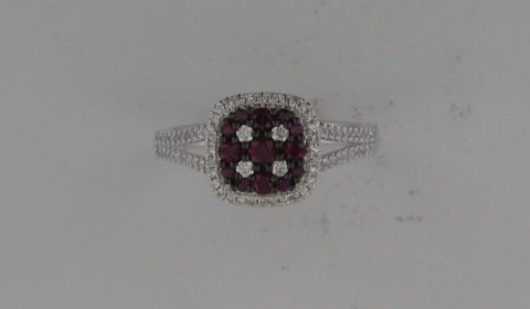 Ruby ladies ring =.45ct set in 14kt white gold with 78 diamonds =.34ct.  Style 842-0033.  $1800.00