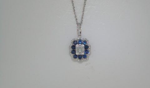 .47ct sapphire 10 stone pendant set in 14kt white gold with 48 diamonds =.30ct on an 18in chain.  Style 842-0037. $1595.00