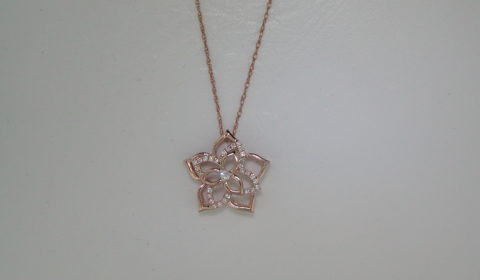 Star shape pendant in 14kt rose gold with 29 diamond =.10ct on an 18in chain.  Style 723-0039 $950.00