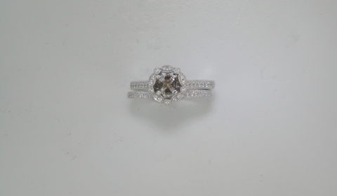 Semi mount bridal set in 14kt white gold with 55 diamonds =.27ct.  Style 723-0040  $2600.00