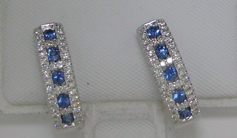 .51ct sapphire loop earrings set in 14kt white gold with 80 diamonds =.27ct.  Style 842-0041. $2000.00