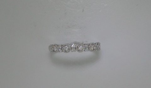 Stackable ladies ring in 14kt white gold with 17 diamonds =.28ct.  Style 910-0059.  $1000.00