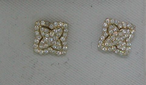 Cluster style earrings in 14kt yellow gold with 86 diamonds =.45ct.  Style E71-E117008.  $1400.00
