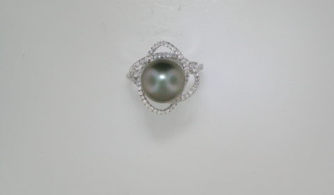 11mm black pearl ladies ring in 14kt white gold with 90 diamonds =.45ct.  Style 950-0172.  $2500.00