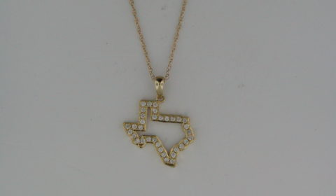 Texas Dangle pendant in 14kt yellow gold with 42 diamonds =.33ct on an 18in chain.  Style 950-0181.  $1150.00