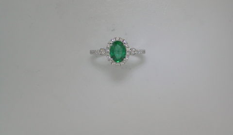 1.12ct emerald ring in 14kt white gold with 30 diamonds =.30ct.  Style 950-0183. $6300.00