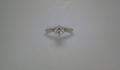6.5mm solitaire engagement ring in 14kt white gold.  Style 900-0663. $375.00