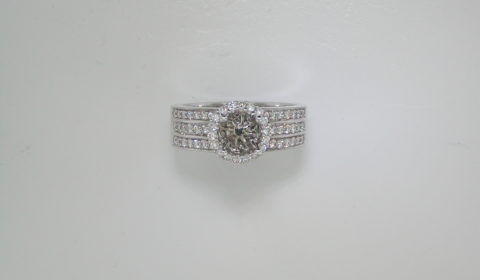 Semi mount halo ring in 14kt white gold with 70 diamonds =.80ct.  Style 750-0667.  $2850.00