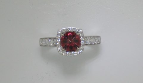Rose garnet checkerboard cut halo ring =1.20ct in 14kt white gold with 30 diamonds =.52ct.  Style 750-0674.  $2095.00