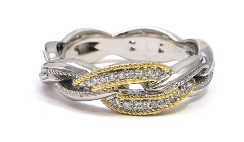 Reorder available Sterling Silver and 18kt yellow gold ring with 18 diamonds =.09ct Style ACR31/09 $400.00