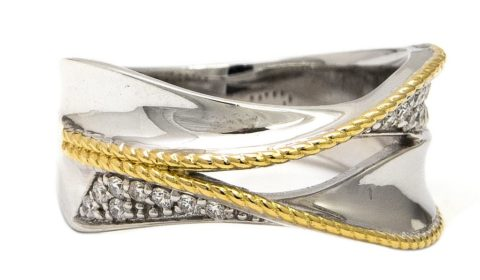Two tone sterling silver and 18kt yellow gold ring with 19 diamonds =.20ct Style ACR313/20 $675.00
