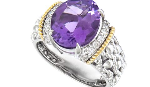 Amethyst ring in sterling silver and 18kt yellow gold with 10 diamonds =.16ct Style ACR336/16-A $650.00
