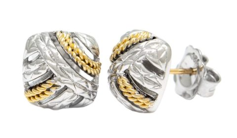 Reorder available Sterling Silver and 18kt yellow gold earrings Style ACE449-SLG $350.00