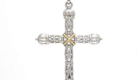Andrea Candela cross necklace in sterling silver and 18kt yellow gold on an 18in chain Style ACP324-SLG $225.00