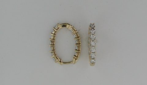 Illusion hoop oval earrings in 14kt yellow gold with 24 diamonds =.50ct Style ER24315-4YC $1500.00